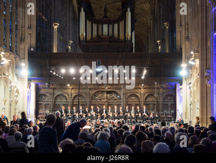 Kings College Chapel Cambridge UK - a choir singing in the interior, Cambridge England UK - Stock Photo