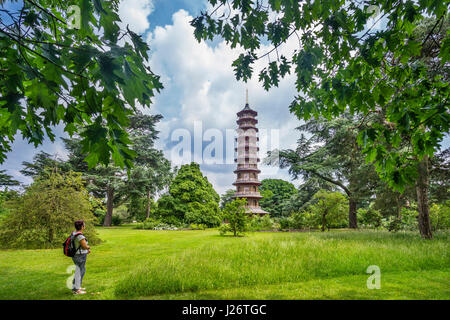United Kingdom, England, Kew Gardens in the London Borough of Richmond upon Thames, view of the ten-storey octagonal - Stock Photo