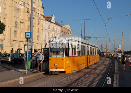 A No 2 electric tram in Budapest, Hungary. - Stock Photo
