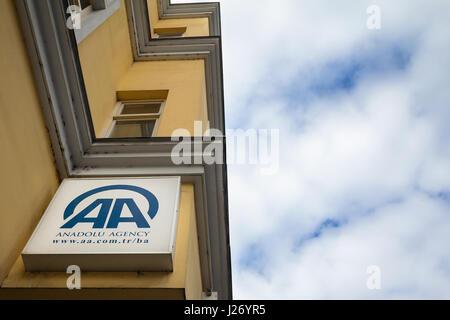 SARAJEVO, BOSNIA HERZEGOVINA - APRIL 17, 2017: Logo of Anadolu Agency on their Bosnian main office in Sarajevo. - Stock Photo