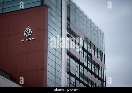 SARAJEVO, BOSNIA HERZEGOVINA - APRIL 17, 2017: Logo of the information TV Channel Al Jazeera Balkans on their headquarters - Stock Photo