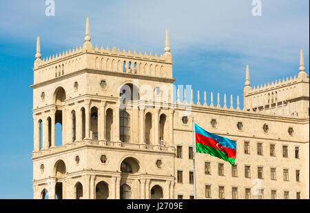 Azerbaijani flag at the government house - Stock Photo