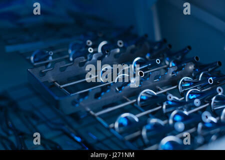 Medical instruments for ENT doctor being kept on steel support - Stock Photo