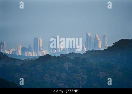 View across the Soberania National Park from Semaphore Hill towards Panama City Panama - Stock Photo