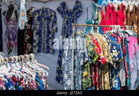 Kapaa Kauai Hawaii flea market with Hawaiian shirts for sale - Stock Photo