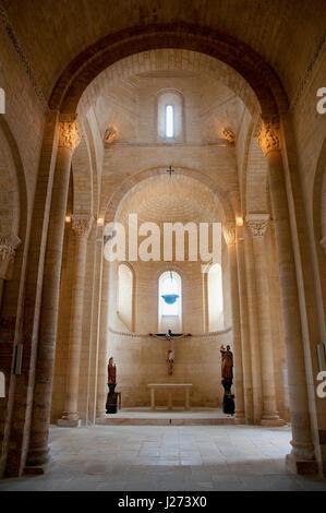 San Martin church, indoor view. Frómista, Palencia province, Castilla León, Spain. - Stock Photo