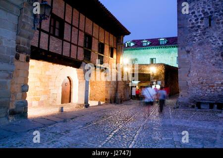 Street at night. Santillana del Mar, Cantabria, Spain. - Stock Photo