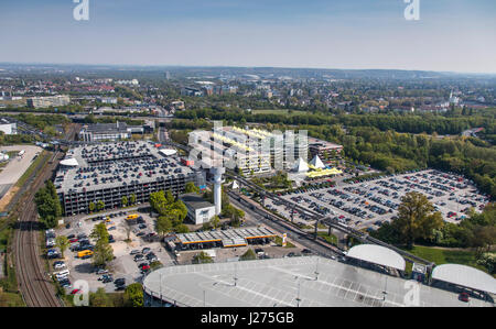 Areal view of DŸsseldorf International Airport, parking facilities, parking lots, car park, - Stock Photo