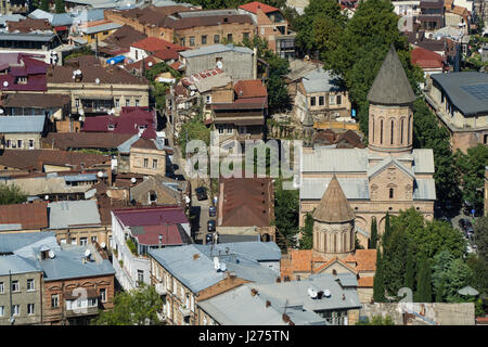 TBILISI, GEORGIA-SEP 25, 2016: Roofs of houses in the centre of old town aerial view from Narikala fortress. - Stock Photo