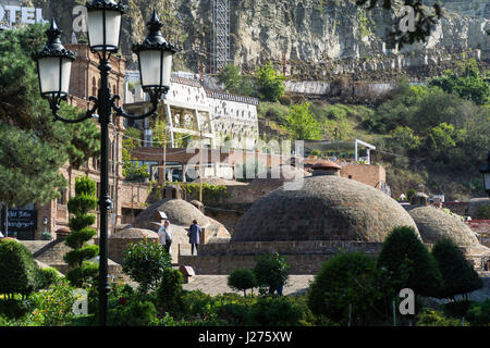 TBILISI, GEORGIA-SEP 25, 2016: Quarter of sulfur baths in the city center. - Stock Photo
