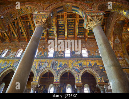 Mosaics of the Norman-Byzantine medieval cathedral  of Monreale,  province of Palermo, Sicily, Italy. - Stock Photo