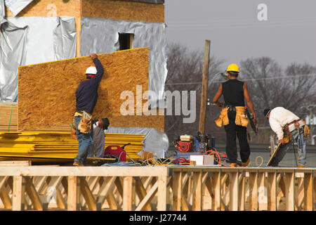 Carpenters cutting and installing framework and subflooring on second story of new apartment complex for nearby - Stock Photo