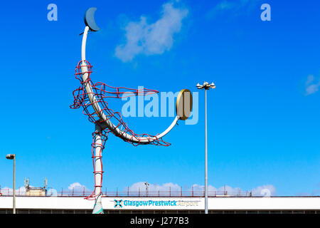 Flying man symbol outside Glasgow Prestwick Airport, Prestwick, Ayrshire, Scotland, UK - Stock Photo