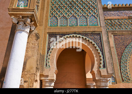 Bab Mansour gate, named after the architect, El-Mansour, completed in 1732. The design of the gate plays with Almohad - Stock Photo