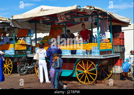 Food stalls in the Jemaa el-Fnaa square in  Marrakech, Morocco - Stock Photo