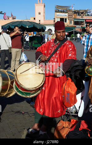 Musicians in the Jemaa el-Fnaa square in  Marrakech, Morocco - Stock Photo