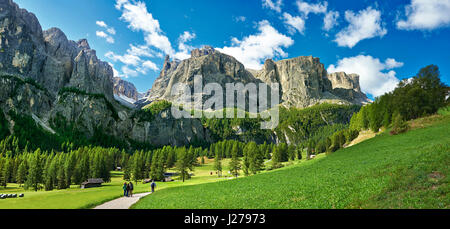 Mountains and pastures of the Sella plateau near Colfosco, 1,645 m (5,396 ft),  at the foot of the Sella group Dolomite - Stock Photo