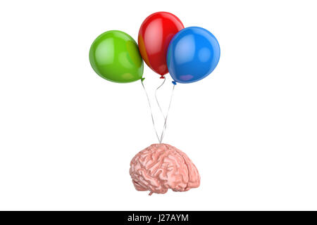 Human Brain with party balloons, 3D rendering isolated on white background - Stock Photo