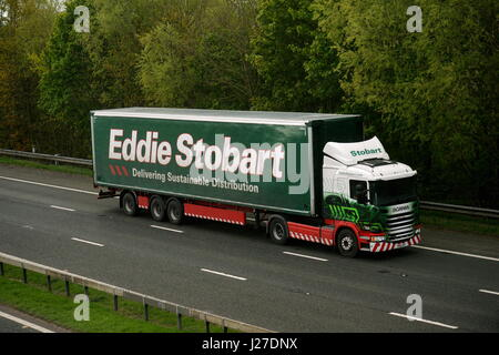 London, UK. 25th Apr, 2017. Eddie Stobart Scania articualted truck. Eddie Stobart Logistics have today floated on - Stock Photo
