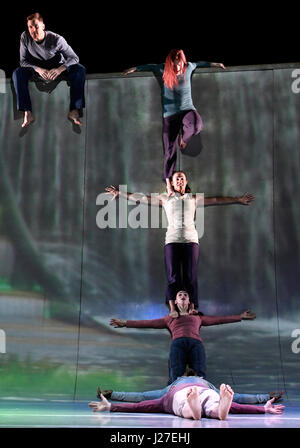 London, UK. 25th Apr, 2017. MOTIONHOUSE performing Scattered (Waterfall) at The Peacock Theatre London, UK. 25th - Stock Photo