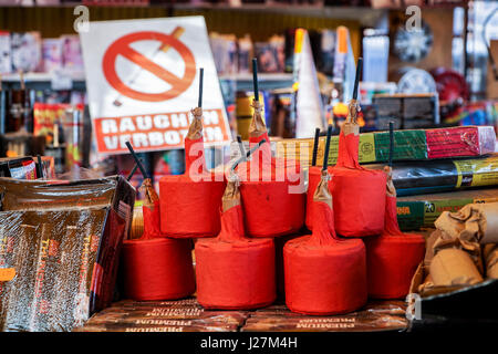 Osniw Dolny, Poland. 14th Apr, 2017. Fireworks that are illegal in Germany, known as 'Polen-Boeller' (lit. 'Polish - Stock Photo