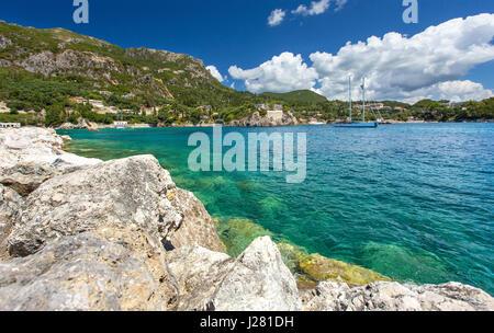 Beautiful Paleokastritsa bay on Corfu, Kerkyra, Greece - Stock Photo