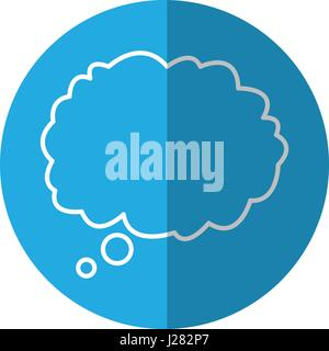 outlined cloud bubble speech blue background - Stock Photo