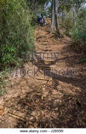 ... People Hiking On Rugged Trail Of The Kuzuharaoka Daibutsu Hiking  Course, Kamakura, Kanagawa
