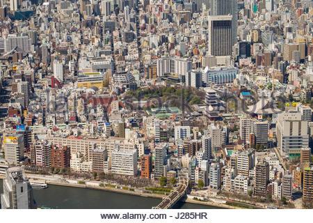 Sensoji Temple and Asakusa seen from the Tokyo Skytree, Sumida, Tokyo, Honshu, Japan - Stock Photo