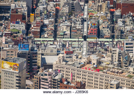 Green roofs of the shops along Nakamise road, Asakusa seen from the Tokyo Skytree, Sumida, Tokyo, Honshu, Japan - Stock Photo