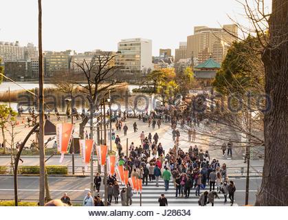 Crowds of people crossing street towards Shinobazu Pond and Shinobazunoike Bentendo, Ueno Park, Taito, Tokyo, Honshu, - Stock Photo
