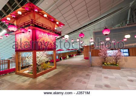 Festival Plaza on the 5th floor in the Haneda International Airport passenger terminal, Ōta, Tokyo, Kantō, Honshu, - Stock Photo