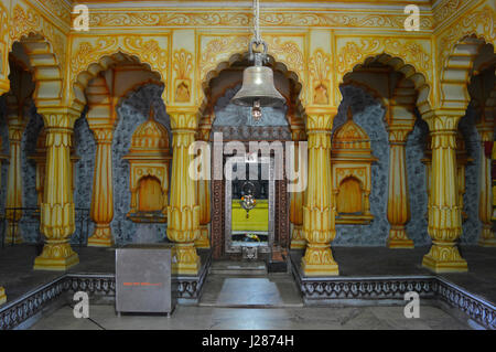 Inside pillars of Shri Wagheshwar Shiva Temple, Wagholi, Pune, Maharashtra, India