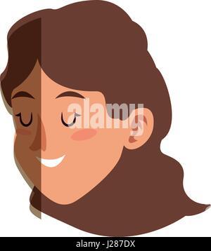 character face woman close eyes shadow - Stock Photo