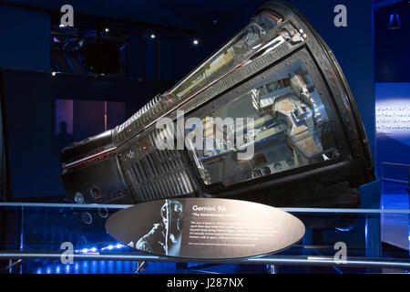 The Gemini 9A spacecraft, flown in 1966 by Thomas P. Stafford and Eugene Cernan, at the Visitor Complex at NASA's - Stock Photo