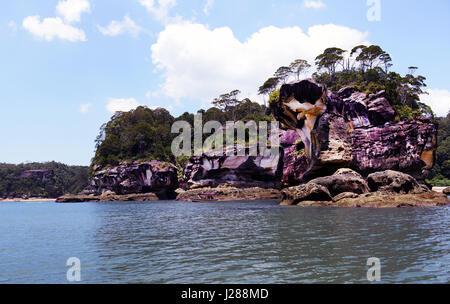 Sea Stacks along the coastline of Bako national park in Sarawak, Malaysia. - Stock Photo