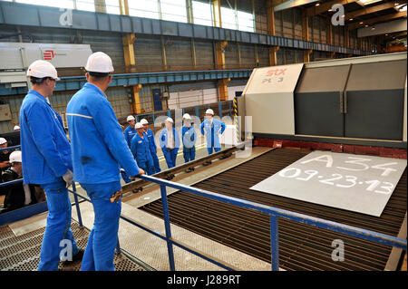 France, North-Western France, STX shipyard in Saint-Nazaire, cutting the first steel plate of the world's largest - Stock Photo