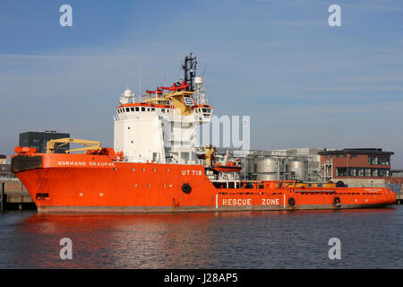 NORMAND DRAUPNE operated by Solstad Offshore in the port of Cuxhaven. This is an anchor handling tug and supply - Stock Photo