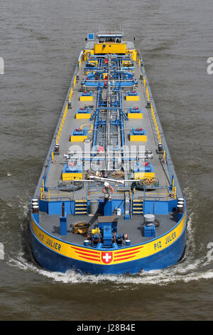 Fluiva's inland tanker PIZ JULIER on the river Rhine. Based in Rotterdam, Basel and Hamburg Fluvia manages a fleet - Stock Photo