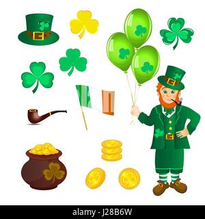 Smiling leprechaun in green clothes with a pipe in his mouth, with three balloons in hand. Shamrock and pan with - Stock Photo