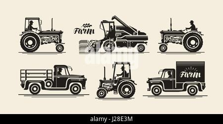 Farm icons set. Agricultural industry, farmer, harvester, tractor, truck symbol. Vintage vector illustration - Stock Photo