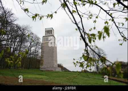 The bell tower of the GDR memorial of Buchenwald concentration camp near Weimar, Germany. - Stock Photo