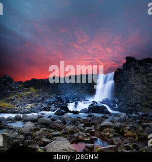 Thingvellir National park - Oxararfoss waterfall - Stock Photo