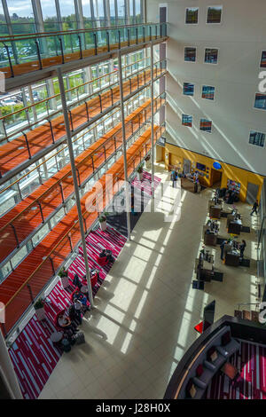Reception desk area at Radisson Blu Airport hotel at London Stansted airport - Stock Photo