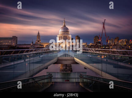 St Paul's Cathedral viewed from Millennium Bridge, London, England, United Kingdom - Stock Photo