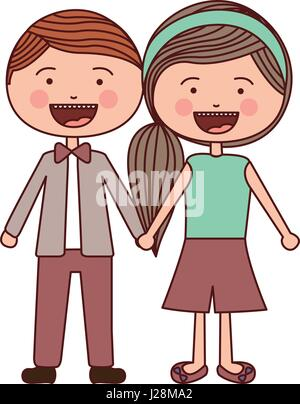 color silhouette smile expression cartoon red male hair and female side hairstyle with taken hands - Stock Photo