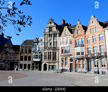 DENDERMONDE, BELGIUM, MARCH 27 2017: Historic buildings which surround the main Market Place (Grote Markt) in Dendermonde, - Stock Photo