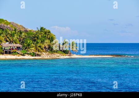 Sandy beach on the tropical Waya Lailai Island in Fiji - Stock Photo
