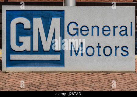 Marion - Circa April 2017: General Motors Logo and Signage at the Metal Fabricating Division. GM opened this plant - Stock Photo