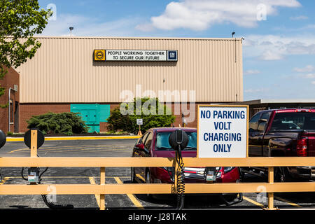 Marion - Circa April 2017: Special area at the General Motors Metal Fabricating Division set aside for charging - Stock Photo